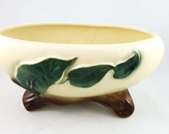 Pair of Matching Ceramic Planters with Leaf Motif