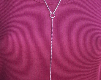 Y Textured Circles..... Necklace, Sterling Silver, Simple