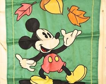 Vintage 1970's MICKEY MOUSE Nylon Banner / DISNEYLAND / Retro Collectable Rare
