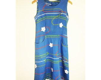 Vintage Light Blue Sleeveless Summer Dress w/Swirl Design and Pockets. Fenno Sport, Made in Finland.