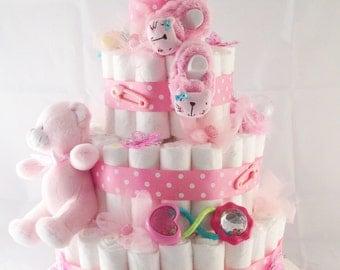 Diaper Cake - 4 tier - for baby girl
