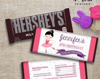 Ballerina Candy Bar Label | Hershey Chocolate Wrappers | Editable | Printable | Instant Download