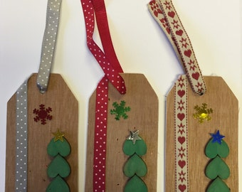 Christmas Wooden Gift Tags - Set of 3