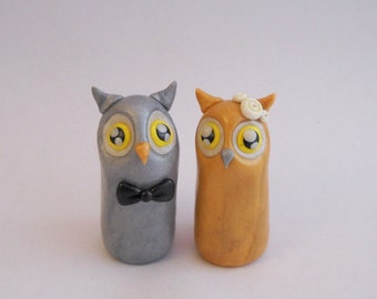 Polymer Clay Owls, Wedding Cake Topper, Clay Cake Topper , Kawaii Owls, Clay Owls, Owl Cake Topper, Custom Cake Topper, Custom Clay Owls