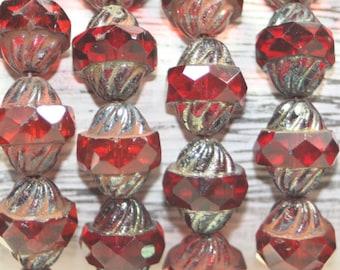 Czech Glass, Turbine Beads, 15 Beads
