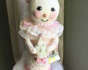 Snowman Snow Lady Shabby Chic Primitive Christmas Pink
