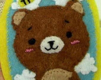 Bear Felt Brooch, Animal Brooch  Felt Accessories  Felt Pin Handmade  jewelry Cute pin Gifts for girl