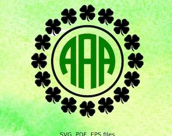 Shamrock Circle Monogram SVG Frame, St Patricks day svg file, cutting file for silhouette, svg file for cricut,  pdf, eps, clover monogram