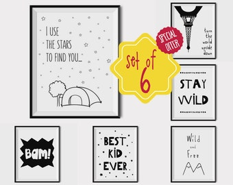 set of 6 prints nursery wall art black and white nursery decor boy - Kid Prints