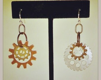 Large Link & Gear Earrings