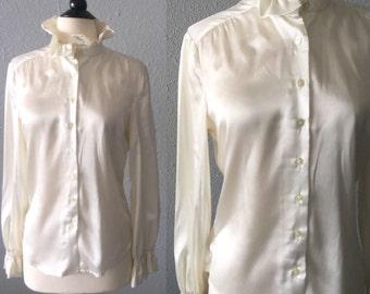 1970's Satin High Collar Cream Blouse by Maurice Antaya