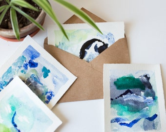 Hand Painted Blank Cards in Blues and Greens, Set of 4