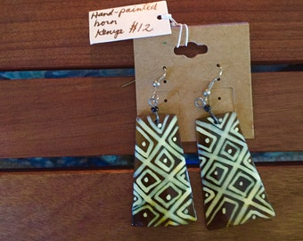 Kenyan hand-painted horn earrings