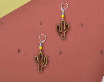Earrings wooden WOODEARZ Cactus