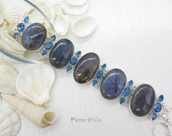 Labradorite and Blue Topaz Sterling Silver Bracelet
