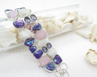 Purple Turquoise Amethyst Drusy Sterling Silver Bracelet
