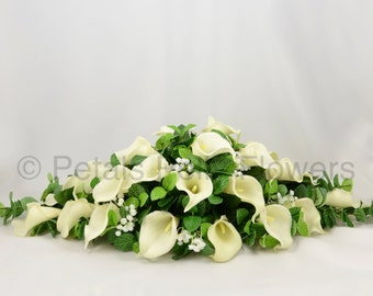 Silk Wedding Flowers, Ivory Calla Lily Top Table Decoration