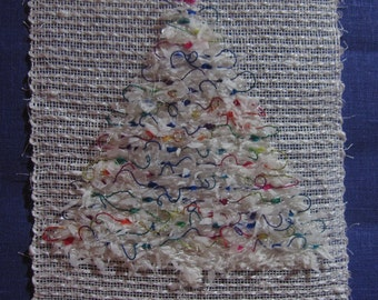 Christmas Tree Woven with Ribbons, Wall Hanging, 8 x 19 inches, Vintage
