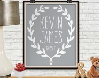 Kids Name Sign, Kids Name Wall Art, Gray Nursery Decor, Custom Name Print, Children Decor, Kids Room Wall Art, Kids Room Prints, Kids Prints