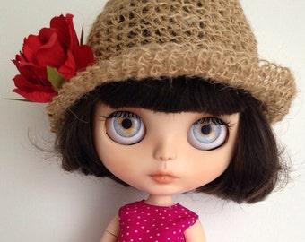 Romantic hat for Blythe doll, sombrero para muñeca, cappello per bambola