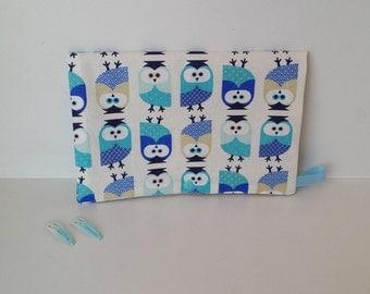 Pochette à barrettes et chouchous chouettes bleu/beige