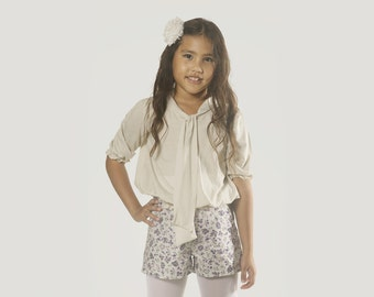 "Girls Blouse in Girls Size 2 to 13 Years -- The ""Tie Blouse"" in  Stone"