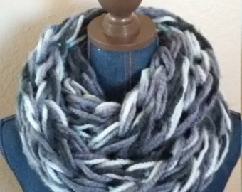 Handmade arm knit chunky Infinity scarf in black, grays and white