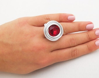 Red Jewelry, Red ring, Wire Wrap ring, Wrap ring, Adjustable ring, Red Crystal ring, Wrap Stone ring, Wrap Stone jewelry, Wire Silver ring,