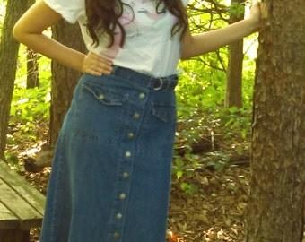 vintage Maxi Denim Skirt By Maria Gabrielle Size Medium