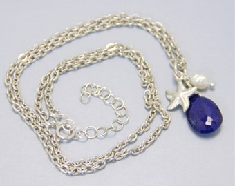 Blue Lapis Pearl Sterling Silver Necklace, Blue Charm Necklace, Blue Sterling Silver Charm necklace