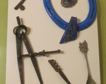 Wall Decor-- HARDWARE ART ---Folk Art-Rustic---Wooden Plaque with Vintage Hardware--One of a Kind  Conversation  Piece