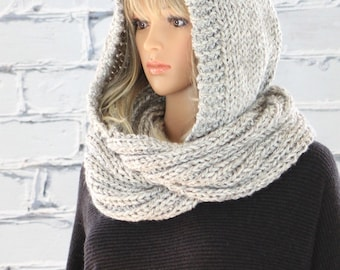 Montreal Hooded Scarf Pattern #32 - Knit Hooded Infinity Scarf Pattern - Knitting Scarf PATTERN - Digital Download - Not a Physical Scarf!