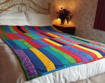 Handmade Strip Quilt or throw