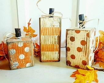 Rustic Wooden Pumpkin Set. 3 Peice. 4x4. Wood Pumpkins, Rustic Fall Decor, Thanksgiving Decor, Rustic Pumpkin Decor, Farmhouse Fall Decor