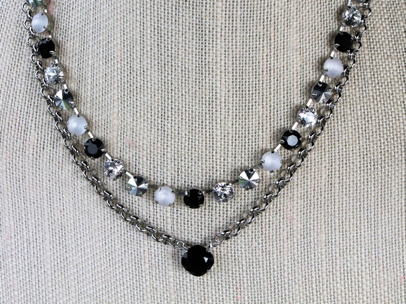8mm Black and White Swarovski Crystal Choker style Necklace, empty cup chain necklace