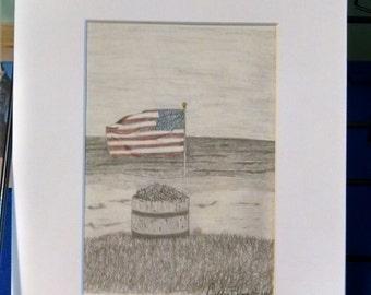 Patriotic Flower Pot on the Beach 5X7 print