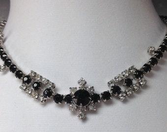 Divine High End Dangle Clear Black Rhinestone Vintage Estate Necklace