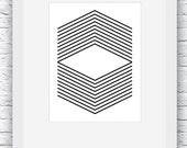 Geometric Print, Black an...