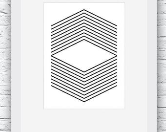 Geometric Print, Black and White, Geometric Art, Geometric Wall Art, Abstract Print, Home Decor, Abstract Art, Scandinavian Print,Modern Art