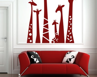 Giraffe Necks Vinyl Wall Decal Sticker Safari Wall Art