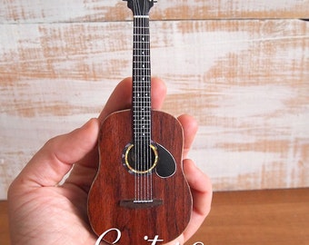 Handcrafted mini guitar 1:5 with stand or frame, Miniature acoustic guitar art, Small model guitar, Gift for musicians and guitarists