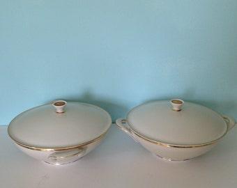Vintage Porcelain Round Bavaria Serving Bowl Tureen