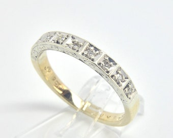 Vintage Diamond Half Eternity Ring   Size O (UK) 7 1/4 (US)   Free Sizing & Shipping