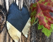 Black and Gold Leather Feather Earrings - recycled leather