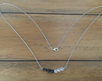 Frosted Jade and Lava Stone Diffuser Necklace