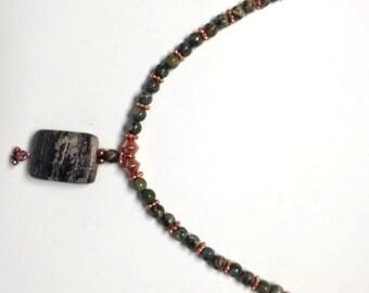 Outback Jasper on Silver Mist Necklace