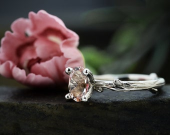 Morganite Twig Engagement Ring - Solitaire Engagement Ring - 9 ct / 14 ct / 18 ct White Gold - Made to Order