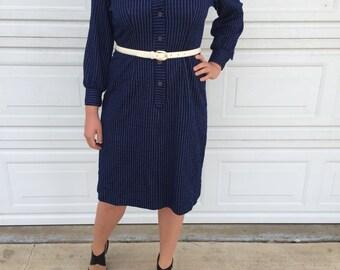 Navy Blue Pinstripe Secretary Dress