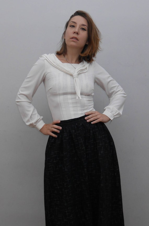 White Middy Blouse Sailor Blouse White Top Office Vintage