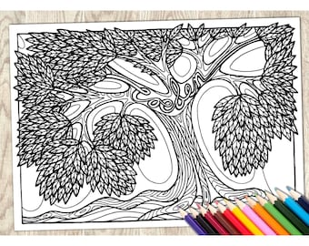 Colouring Page Coeden, Welsh Word, Printable Download, Adult Coloring, Language Wales, Art Therapy, Calm Relaxing, Creative, Pattern, Tree